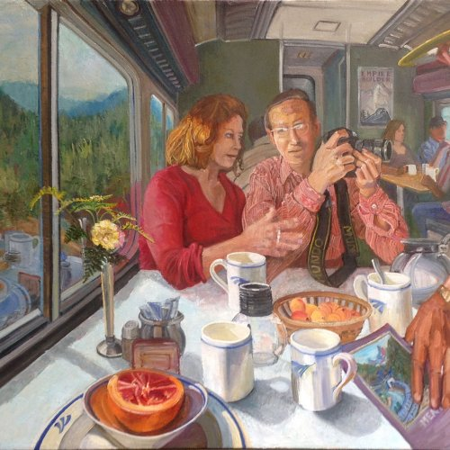 Aboard The Empire Builder 2011-2019, oil on canvas, 28 x 40 inches, copyright ©2019