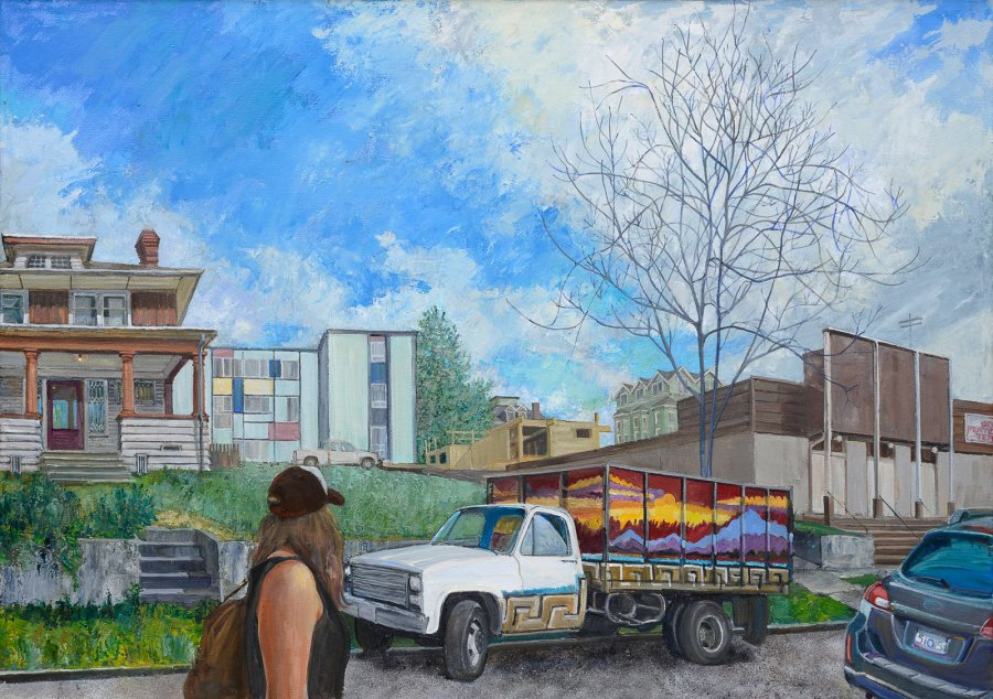 Rolling Sunset on 16th Ave., oil on canvas, 29 x 42inches,  copyright ©2015-2021
